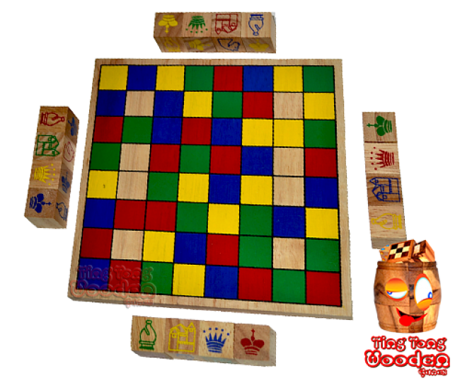 Ajongoo colored cube chess for 4 players as a strategic entertainment game monkey pod wooden games thailand