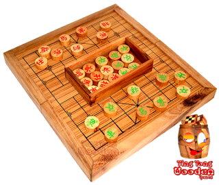 Chinese chess game in wooden board from samanea wood thai wooden games
