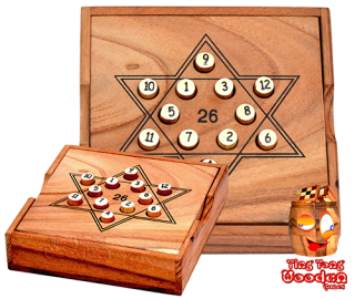 Star 26 wooden solitaire math calculating game from monkey pod wood thai wooden games