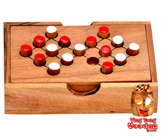 Switch 16 Holz mind game Mathe Rechenspiel Monkey Pod wooden games Thailand