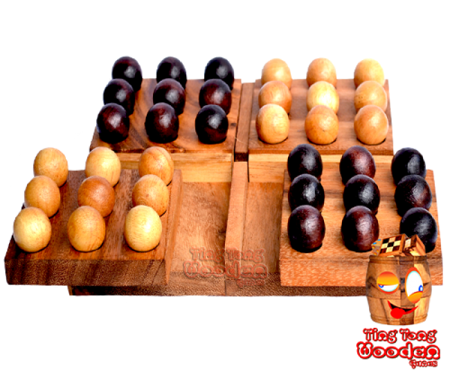 Pentago wood strategy game marble wood board Monkey pod wooden games Thailandn games Thailand