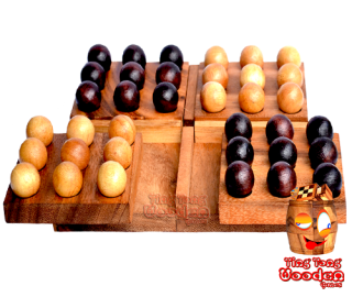Pentago Holz Strategiespiel marble wood board Monkey Pod wooden games Thailand