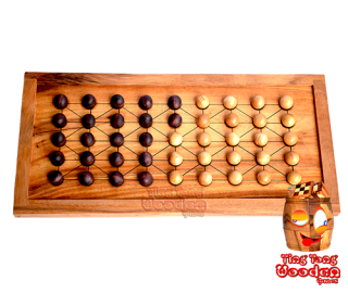 Fanorona wooden board game with marble monkey pod wooden games thailand