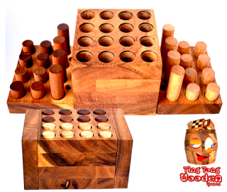 Mindful Strategie Spiel Step On Me aus Monkey Pod Holz wooden games Thailand