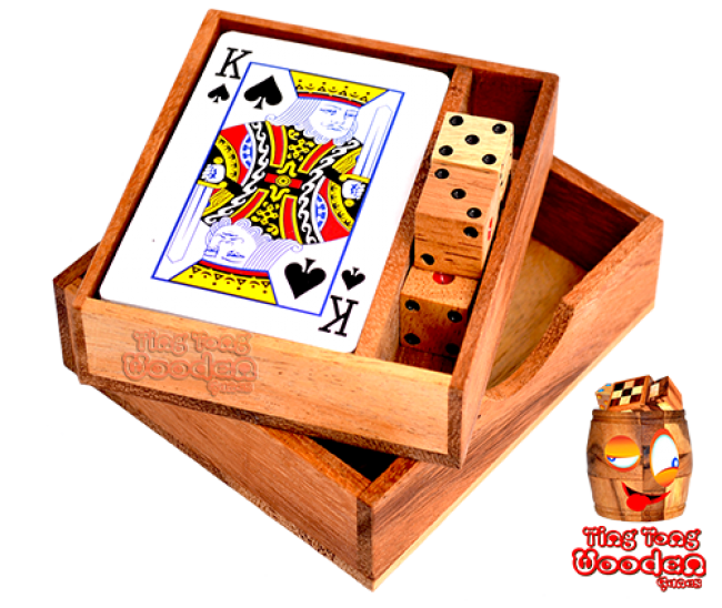Playing cards set with dice in wooden box monkey pod wooden games Thailand