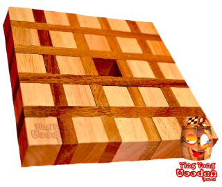 Coffee coaster puzzle from wooden, brain teaser with only 8 pieces wooden games chiang mai