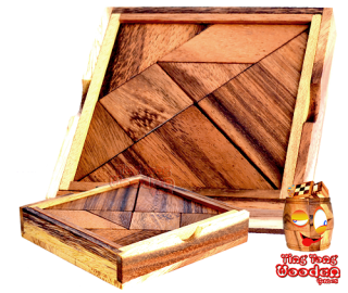 Tangram wooden puzzle box large with 7 pieces and templates to puzzle ting tong wooden games chiang mai thailand
