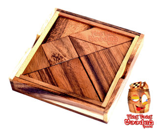 Tangram wooden puzzle with 7 pieces and templates to puzzle ting tong wooden games chiang mai thailand