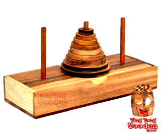 Tower from Hanoi the Pagoda 9 Ring Puzzle move the 9 slices to another tower one by one